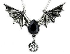 """- BLACK BAT WING NECKLACE - 2"""" inches long (5cm) 3"""" inches wide (8cm)pendant - Very Detailed - Swarovski Crystal - Comes on Adjustable 20"""" inch (51cm) split chain - (Nickle and Lead Free Strong Pewter"""