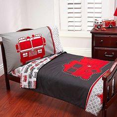 Toddler Bed Set Fire Truck Bedding Sheet Comforter Blanket Pillow Engine Bedroom
