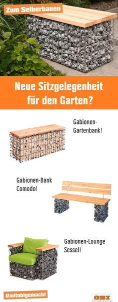 """Zurück in die Steinzeit! Unsere Gabionenmöbel zum Selbstbauen gibt es in verschiedenen Ausführungen: Als Loungemöbel, Sitzbank für eine Feuerstelle oder ganz individuell als Tisch. Wir zeigen dir den """"steinigen"""" Weg zu deiner neuen Sitzgelegenheit."""