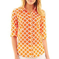 I think orange would look great with the navy polka.  jcpenney