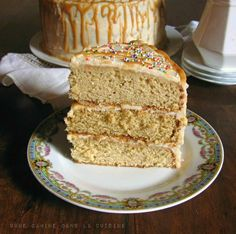 ANTIQUE CARAMEL CAKE Cake 2 cups flour, sifted 1/4 t salt 1 stick unsalted butter 1 1/4 cups sugar 1/2 cup firmly packed light brown sugar 3 eggs 1 cup buttermilk 1 t baking Soda 1 T vinegar Caramel Sauce 1/2 cup heavy cream 1/4 cup sour cream 1 cup sugar 2 T maple syrup 1/4 cup water 1 t fleur de sel Frosting: 1/4 cup packed dk brown sugar 1-1/4 sticks butter 1/3 cup heavy cream 8 oz cream cheese 1/4 t salt 2 cups powdered sugar