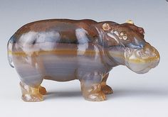 Hippopotamus | c. 1900 Agate, rose diamonds