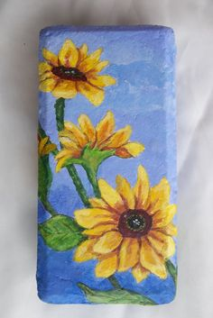 Acrylic Painting Of Sunflowers On A Brick by ArtistTooStudios, $50.00