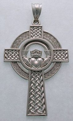 The Claddagh Cross is a 16th century Irish symbol of eternal love and friendship. The heart at the center of the design is symbolic of love, the hands around it symbolize friendship, while the crowns represent everlasting loyalty. The Caddagh set in a cross adds spirituality to the equation.