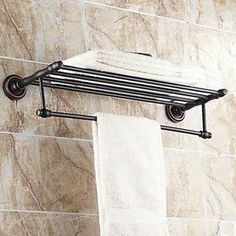 Oil Rubbed Bronze Hotel Towel Shelf Or Train Rack With Double Bar Bathrooms Pinterest Bathroom Shelves And