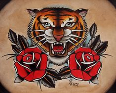 tiger and roses tattoo - Google Search