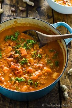 Coconut Red Lentil Peanut Soup | This hearty West African soup is easy to make and incredibly delicious. It makes the perfect Meatless Monday dinner. | theendlessmeal.com | #vegan