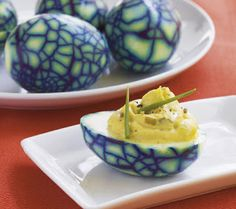 Halloween Spiderweb Deviled Eggs (Also known as dinosaur eggs) So fun to make