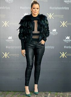 See a picture of Khloe Kardashian's rocker chic outfit in London! this is too cute!!! although I may have rocked It with a fuschia colored shoe.....too hot!!