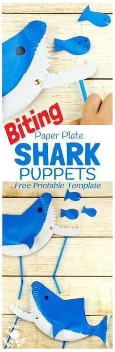 PAPER PLATE SHARK PUPPETS are so fun! CHOMP! This interactive shark craft is easy to make using the free printable template. This paper plate craft will inspire hours of dramatic play and storytelling.
