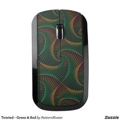 Twisted - Green & Red Wireless Mouse #green #giftideas #mouse #spirals #shells