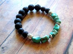 Rustic Lava Rock Black Green Turquoise Nuggets by Cheshujewelry, $20.00