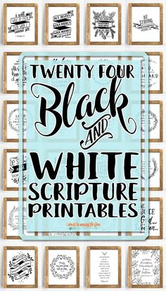 24 Printable Bible Verses: All black and white, handwritten-style printables featuring 24 beloved scriptures. These 24 Printable Bible Verses are a lovely addition to any home or office. Beautiful and hand-written style printables. Printable Bible Verses, Scripture Cards, Printable Wall Art, Chalkboard Bible Verses, Free Printable Quotes, Printable Vintage, Free Printable Stencils, Wall Stencil Quotes, Kind Und Kegel