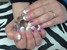 Get polished - French manicure gel nails with pink flowers