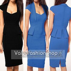 Women Celeb Style Career Wear to Work Elegant Peplum Cap Sleeve Pencil Dress 848