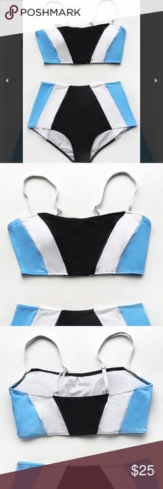 2 Piece Swimsuit It's almost time for summer!! This swimsuit is perfect for the beach or pool. It's slimming because of the style and the asymmetrical print. It's black, white, and light blue. The bottoms are high waisted. The top has adjustable straps and is also padded (you are able to remove the padding). Top and bottoms are both medium. Never worn. Still has tag and hygienic protection. I'm 5'4, around 125lbs, 34C CupShe Swim