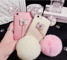 Bling Cute Mickey Ear & Rabbit Fur Ball Cell Phone TPU Case for iphone 6 6s plus #other