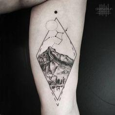 triangle tattoo arm landscape stars - Google Search