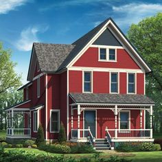 Red    Benjamin Moore: Raspberry Truffle (clapboards), Hale Navy (gable trim and shingles, door, balusters, spindles, stair risers), Lemon Chiffon (trim, porch columns and rails), Galveston Gray (eaves, windows, porch brackets), and Silver Pine (porch skirt)