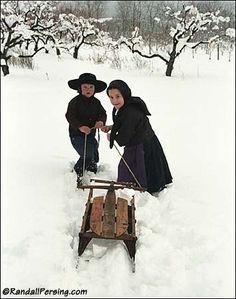 Amish children sledding