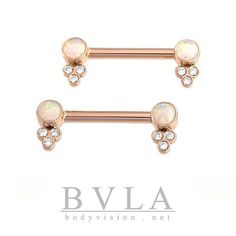 Nipple Barbells with Opals & Diamonds! Available at fine piercing studios! sku# 07-1400-0010