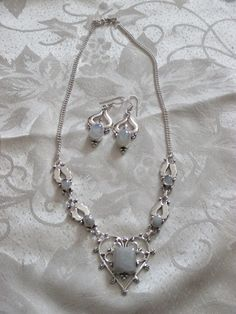 """Rainbow Moonstone 925 overlay necklace and earring set new with out tags unworn and unused item handmade necklace is 19"""" and earrings are 2"""""""
