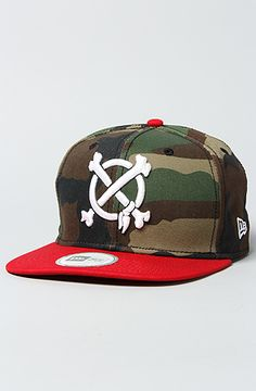 The Crossbones Snapback Cap in Scarlet & Green Camo by In4mation