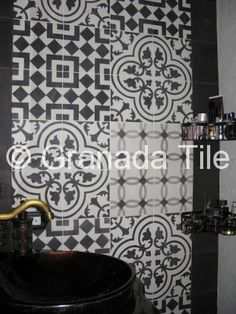 B & W combo for stairs    Tile Installation Photos - Photos of Cement & Concrete Tile Installations