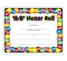 Printable honor roll award certificate in pdf and doc formats a b honor roll colorful certificate yelopaper Gallery