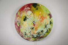 Large Circular Wall Art, Large Circular Wall Light, Wall Clock, Glass Wall Art, Modern Wall Light, Abstract Lighting, Red, Yellow, Green,uk on Etsy, by ReformationsUK  ( PLEASE ZOOM IN TO SEE THE FULL EFFECTS AND COLOURS )  This oversized glass clock is a stunning piece of art. This piece is a massive 32 inches wide. Finished with a coating of professional clear resin which encapsulates the piece in its entirety. Oversized Glass Wall Clocks with ambient colour changing backlighting. Each of…