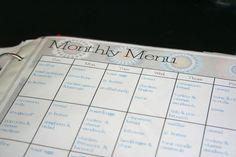 Monthly menu plan & shopping list--free printable