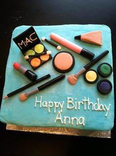 The makeup strategically placed on the cake.