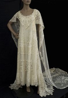 Beautiful custom designed wedding gown made from antique lace elements in the by the bridal department at Henri Bendel. Couture Wedding Gowns, Bridal Gowns, Wedding Dresses, Lace Wedding, Crochet Wedding, Bride Dresses, Vintage Outfits, Vintage Gowns, Dress Vintage