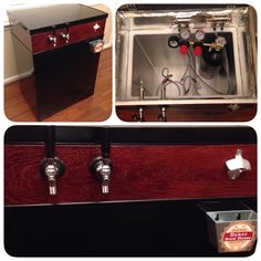 Homemade #keezer. White chest freezer painted black w/DIY collar & 2 taps plus bottle opener/cap catcher for any bottles that may be stored in the extra space inside. #DIY #homebrew #beer #kegerator