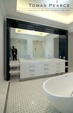 LOVE THE MIRRORS☺☺☺ NOT BLACK SURROUNDING IT.ALSO NO NEED FOR TUB LOL LOVE MARBLE ☺AND DOUBLE SINK'S A MUST IF I EVER GET MARRIED LOL   modern master ensuite