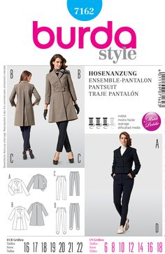 Burda 7162 from Burda patterns is a Misses Coats and trousers sewing pattern