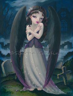 Ange déchu signée Simona impression Candini ange gothique fée Fantasy Art de grands yeux
