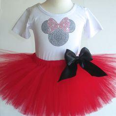 5T Minnie Mouse costume red tutu & rhinestone by MyFairysCloset, $45.50