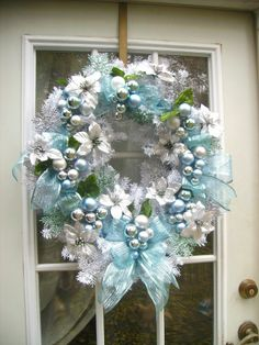 """""""TEAL GLITTER"""" LG WHITE BIRCH WREATH WITH CHRISTMAS BALLS AND SILVER POINSETTIAS"""