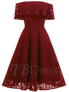 Tbdress.com offers high quality Slash Neck Back Zipper Women's Lace Dress Lace Dresses unit price of $ 29.99.