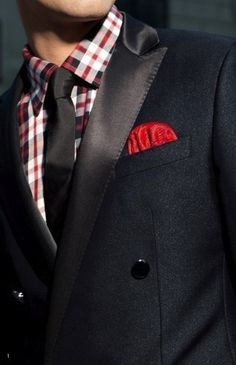 Men's Style: Navy tuxedo style jacket with red and navy checkered shirt