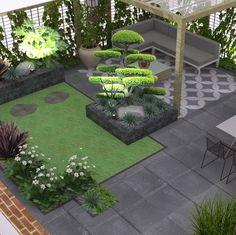 Garden Design Layout - New ideas Front Yard, Garden Seating Area, Modern Garden, Garden Design Layout, Backyard Landscaping Designs, Raised Garden Beds Diy, Rustic Gardens, Garden Projects