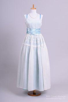 1960 Blue Organdy Vintage Wedding Gown : Mill Crest Vintage