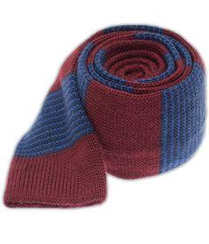Knit Tech Stripe - Burgundy/Blues (Wool Skinny)
