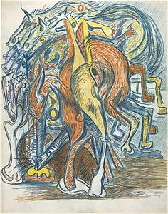 Untitled - 1939-42 - Colored pencil, colored crayon on paper - Image H35.5cm X W27.9cm - Purchased 1986 by the National Gallery of Australia, Canberra.
