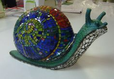 Colourful mosaic snail sculpture
