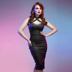 Collectif Penny Vegas glitter kokerjurk zwart | Attitude Holland