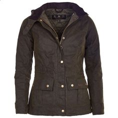 Barbour Womens Convoy Waxed Jacket - Inspired by the Barbour archive Ursula jacket, its attractive, yet practical styling has a feminine fit. Draw-corded at both the waist and the hem, featuring generous utility pockets with bold brass stud closers. Featuring a practical, yet fashionable funnel collar with throat strap and a removable fleece-lined and draw-corded hood for when the weather take a turn for the worse.
