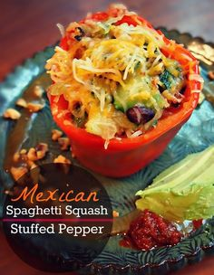 Leftover Makeover: Mexican Spaghetti Squash Stuffed Peppers.