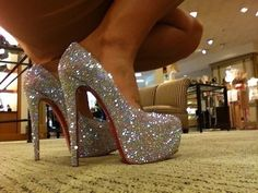 silver fashion high heel shoes
